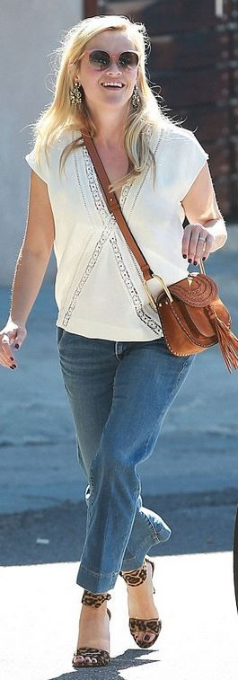 Reese Witherspoon: Earrings – Erickson Beamon  Sunglasses – Draper James  Purse – Chloe  Shoes – Gianvito Rossi