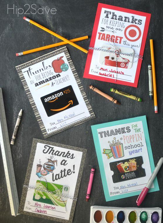 Teacher Gift Card Holders (Free Printable Cards) Teacher Gift Idea - teacher app...