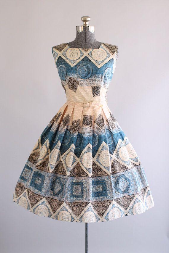 Vintage 1950s Dress / 50s Cotton Dress / Blue and Black Tribal Print Dress w/ Original Waist Belt L
