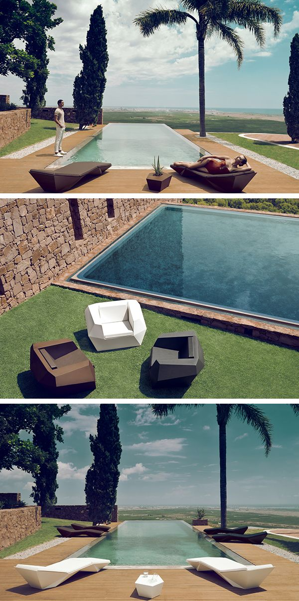 Play with the geometric lines of your swimming pool and destructure them with the Vondom Faz garden equipment: Armchairs, Deckchair, Coffee table, etc .. All to arrange your terrace! #barazzi #poolside #transat #inspiration #chaiselongue
