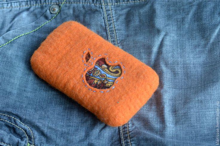 """Купить Чехол для iPhone """"Русский стиль"""". Войлок, павловопосадский платок - орнамент, чехол для телефона, яблоко"""