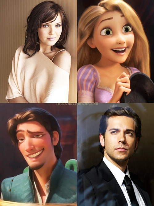 Mandy Moore (the mean girl Lana on Princess Diaries 1 & Jamie on A Walk to Remember) voiced Rapunzel and Zachary Levi voiced Flynn Ryder. Cool, huh? Here is the link to the IMDb page about who voiced different parts of Tanlged. :) http://www.imdb.com/title/tt0398286/fullcredits