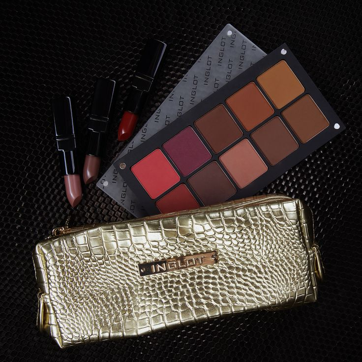 Cosmetic Bag Crocodile Leather Pattern Gold Small #accessories #cosmeticbag #WhatASpice #eyeshadows #lipstick #mattlipstick