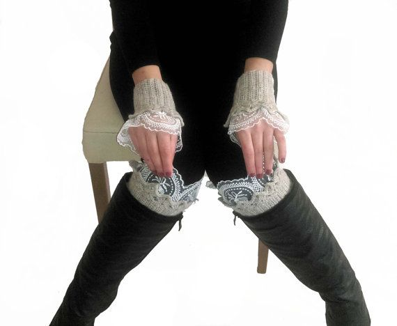 Hey, I found this really awesome Etsy listing at https://www.etsy.com/listing/482309334/beige-lace-boot-cuffs-and-gloves-beige
