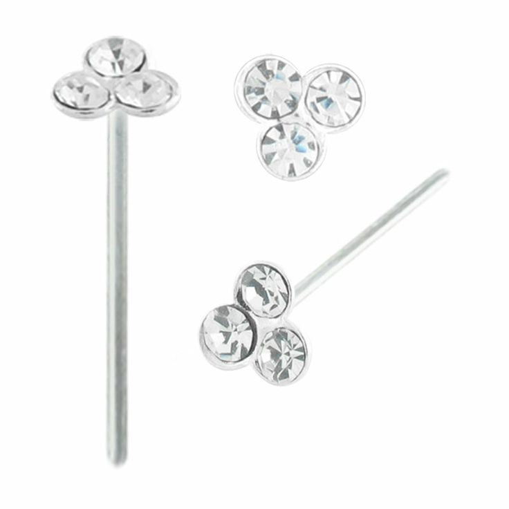 20G Nose Pin with a 4mm three Gem Top and a 10mm Wearable. Made from Sterling Silver #BodyVibe