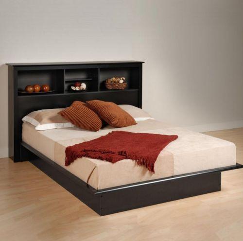 new queen size storage bed platform bookcase headboard furniture organizer black
