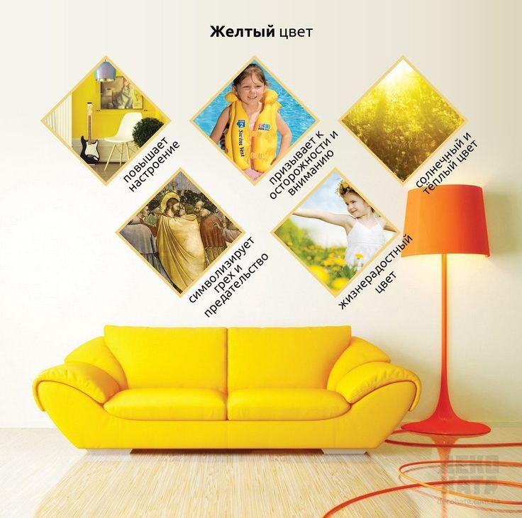 Желтый очень похож своими свойствами с красным. Он также веселит, бодрит и создает атмосферу уюта и тепла. Желтый поможет вам проснувшись, начать день на положительной ноте. Однако тщательно проанализируйте, какую из комнат лучше всего оформить в таком цвете. Придя домой раздраженным, желтый не окажет на вас положительного влияния, а лишь будет стимулировать вашу психику. Идеальным этот цвет является для детской комнаты, детского садика и детских площадок.