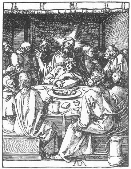 'petite passion: 8. le dernier `supper`', bois de Albrecht Durer (1471-1528, Germany)
