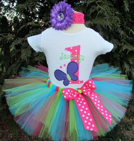 Baby Girl 1st Birthday Tutu Outfit--Butterfly--Party Outfit--Personalized on Etsy, $60.00