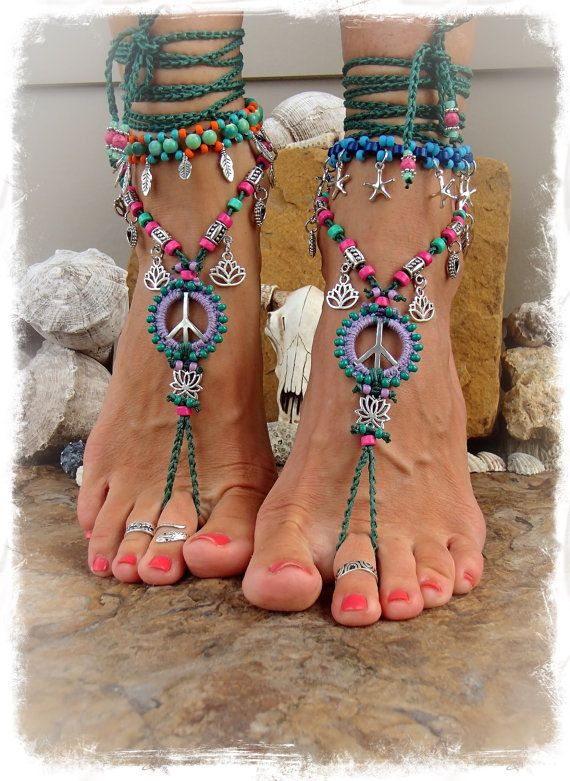 Lotus PEACE sign BAREFOOT sandals Peace symbol beaded Crochet toe ankle wrap sandal Emerald Green / Lilac YOGA jewelry Garden wedding GPyoga