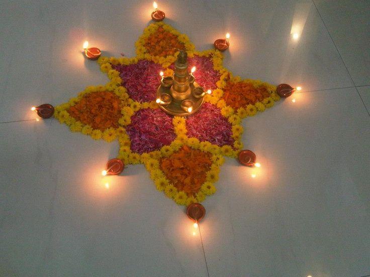 Diwali diya pooja thali rangoli decoration ideas for Diwali decorations at home of lightings