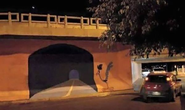 """Meep, meep.""  - A GRAFFITI ARTIST PAINTED A ROAD RUNNER TUNNEL ON A WALL AND SOMEBODY TRIED TO DRIVE THROUGH IT By: Tommy Gimler, Mar 16, 2016."