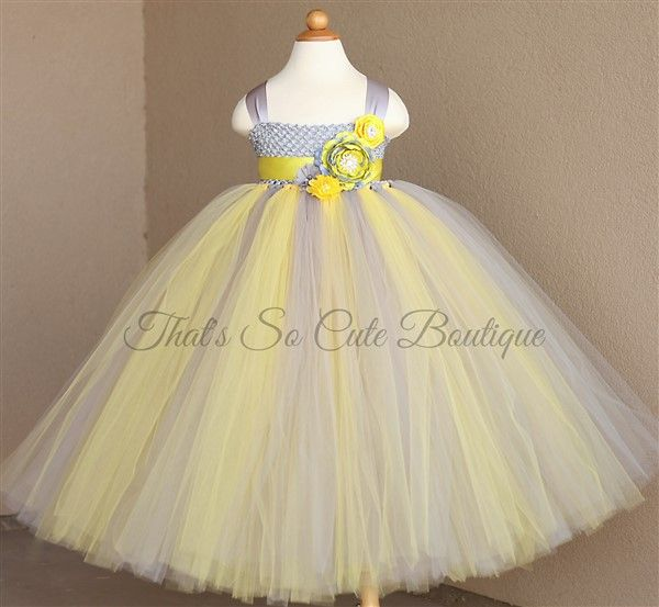www.thatssocuteboutique.com-Gray and Yellow Flower Girl Tutu Dress-yellow, gray, grey, silver, tutu dress, tutu, flower girl, flowergirl, gold, princess