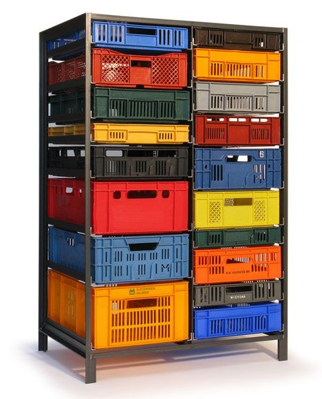 Upcycled form and function. Repurposed plastic industrial containers as drawers. By Lensvelt as posted by @Core77