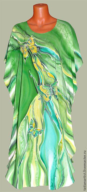 Пляжные платья ручной работы. Ярмарка Мастеров - ручная работа. Купить Платье Батик. Handmade. Зелёный, авторская роспись