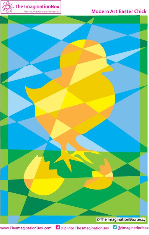 Modern Art Easter Chick, includes an empty template
