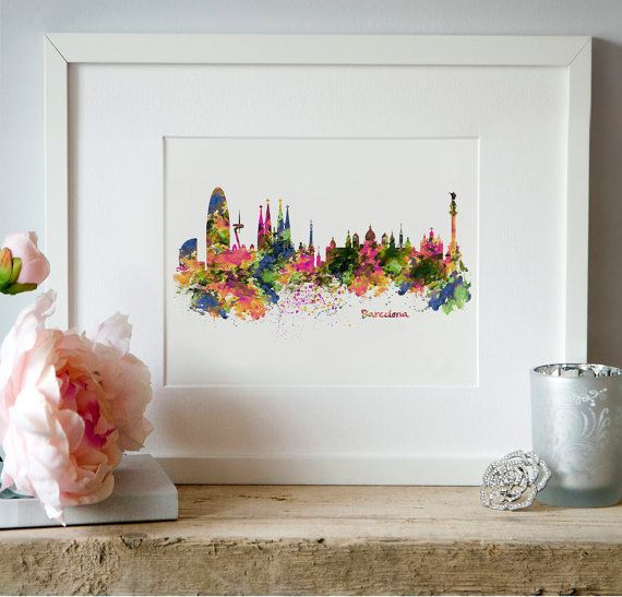 Barcelona Skyline Watercolor painting Barcelona by Artsyndrome