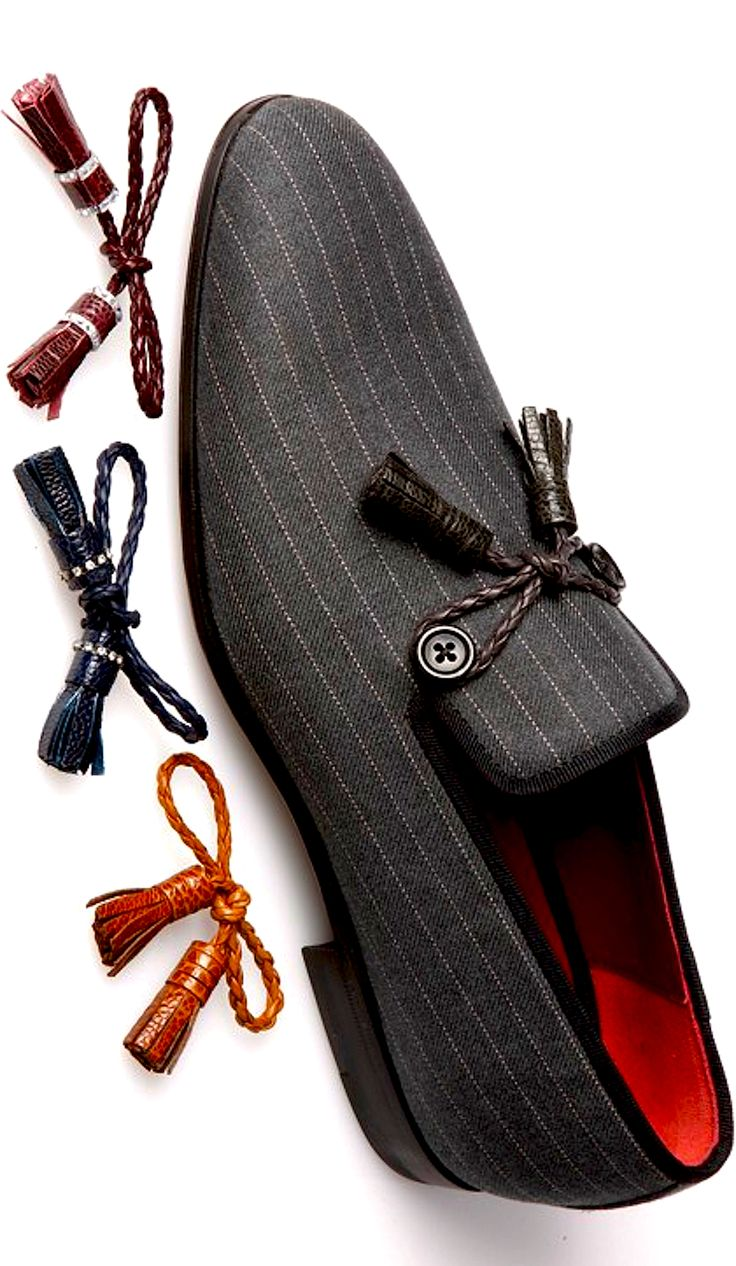 Pinstripe Loafers with Interchangable Tassels, by Magnanni, Men's Fall Winter Fashion.