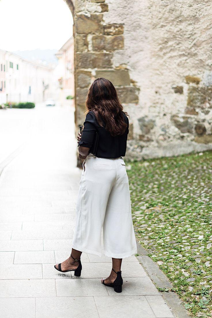 Outfit | White culottes and black shirt | zara, mango h&m