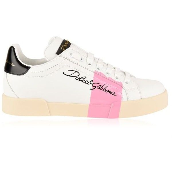 Dolce And Gabbana Portofino Logo Trainers ($800) ❤ liked on Polyvore featuring shoes, sneakers, leather lined shoes, leather sneakers, logo shoes, lace up sneakers and leather low top sneakers
