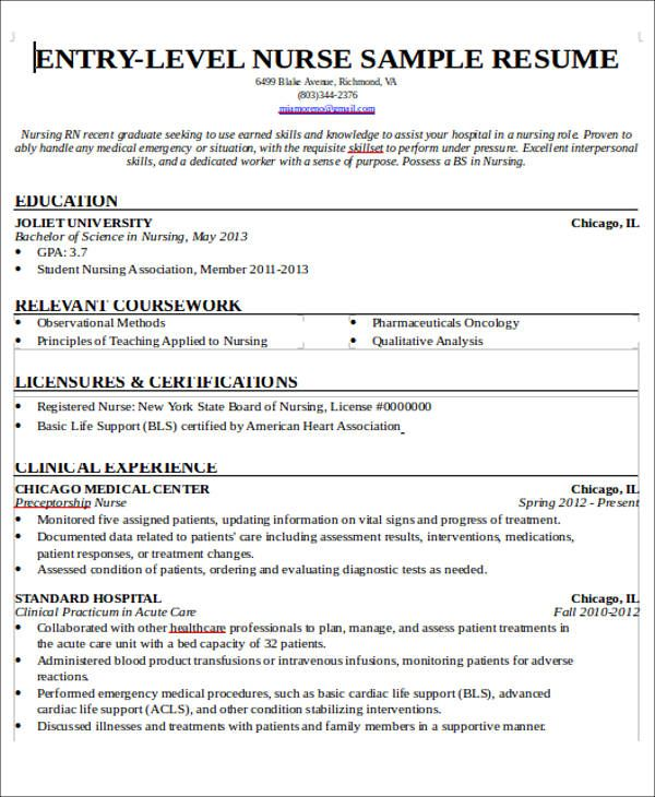 entry level nursing student resume with no experience pdf