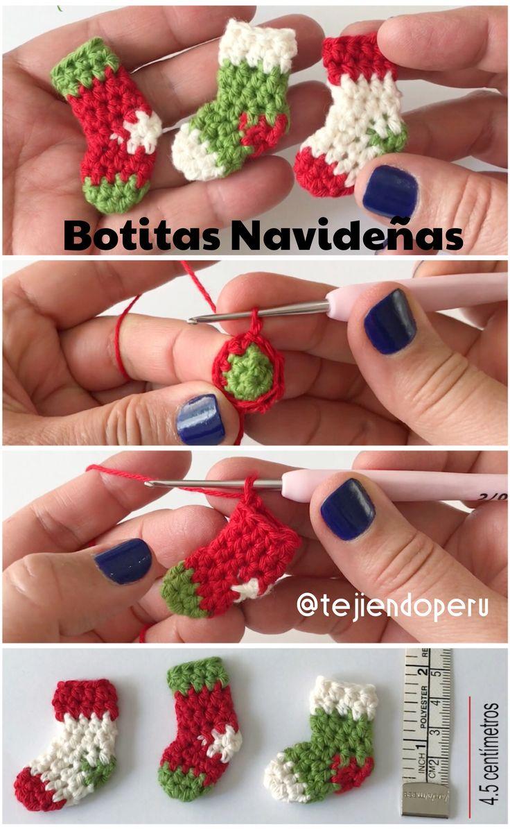 Botitas MINI de Navidad tejdas a #crochet Video tutorial
