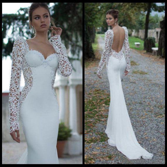 Long Sleeve Open Back Wedding Dress | … Weiße Open Back Hochzeitskleid, Hochzeitskleid, Hochzeitskleid, Hoch