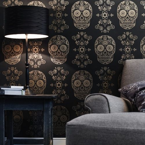 Wow - Day of the Dead wallpaper!  I'll take several rolls to start.  Great for a single-wall project!