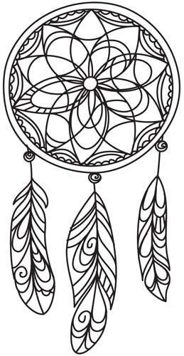 ☮ American Hippie Art ☮ Adult coloring page tattoo idea .. Dreamcatcher: