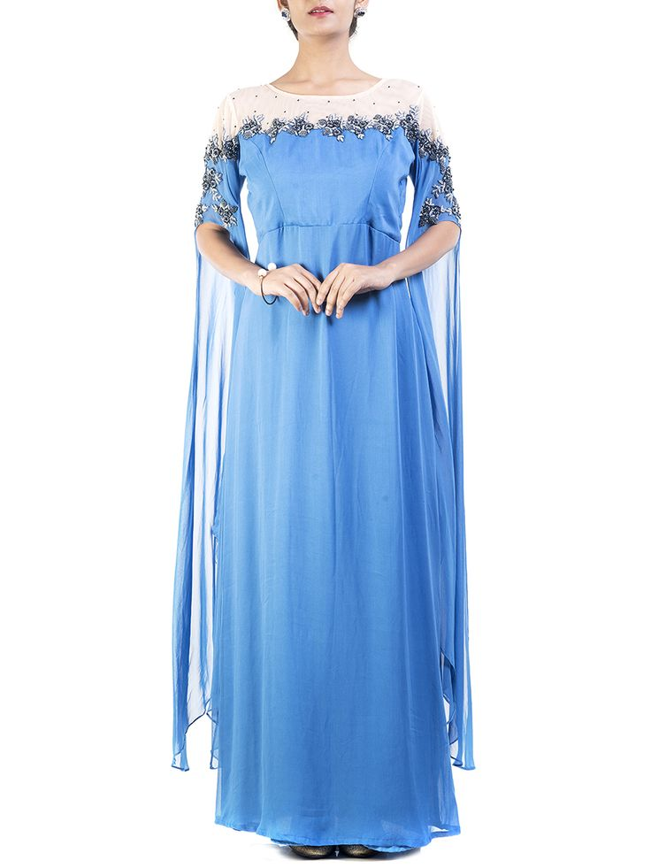 Electric Blue Dress With Cape Sleeves #Ekatrra #Georgette #Stylist #Fashiondiaries #Womenwear #Dress #Trendy #Vintage #Onlineshopping #Gift #Follow #Fashionable #Comfortable #Trendsetter #Beautifulyou #Couture #Celebration Shop Now: http://bit.ly/1NIqEcM
