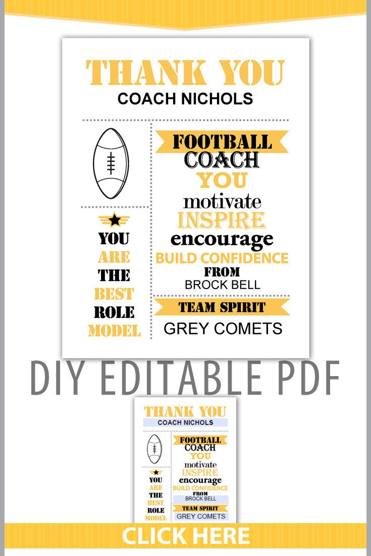 Editable PDF Sports Team Football Thank You Coach Certificate Subway Style Award Template in Black Yellow Gray Letter Size