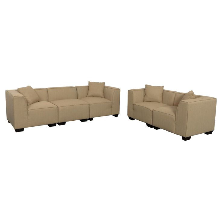 Lida 5pc Beige Sectional Sofa and Loveseat Set - Corliving