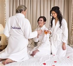 Bridal Party White Fluffy Personalised Bathrobes! Perfect for enjoying the preparations on the morning of the Wedding. Set of 3 available for just €24.99 from WowWee.ie