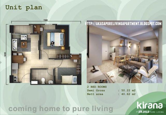 Denah unit 2 BR apartemen Akasa BSD Tower Kirana #akasapureliving #apartemenakasa