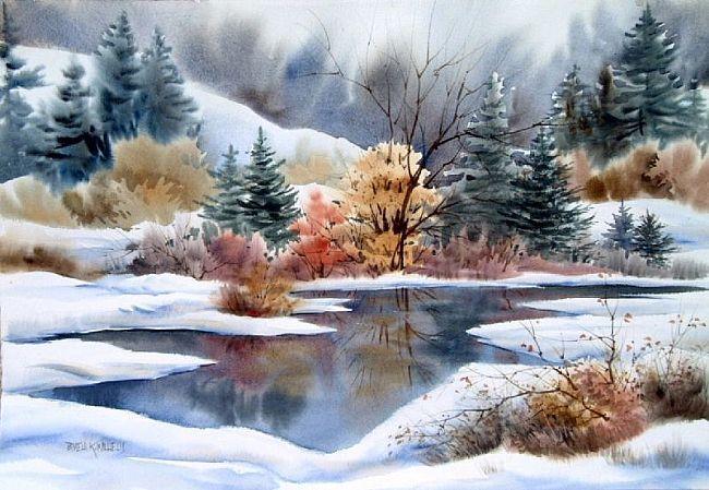 watercolor of winter | Art: MONTANA WINTER LAKE by Artist Pamela K Wilhelm