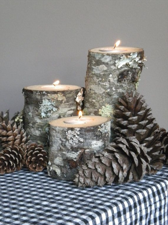 Rustic wood candle holder set, remember this for easy winter centerpiece #home #decor
