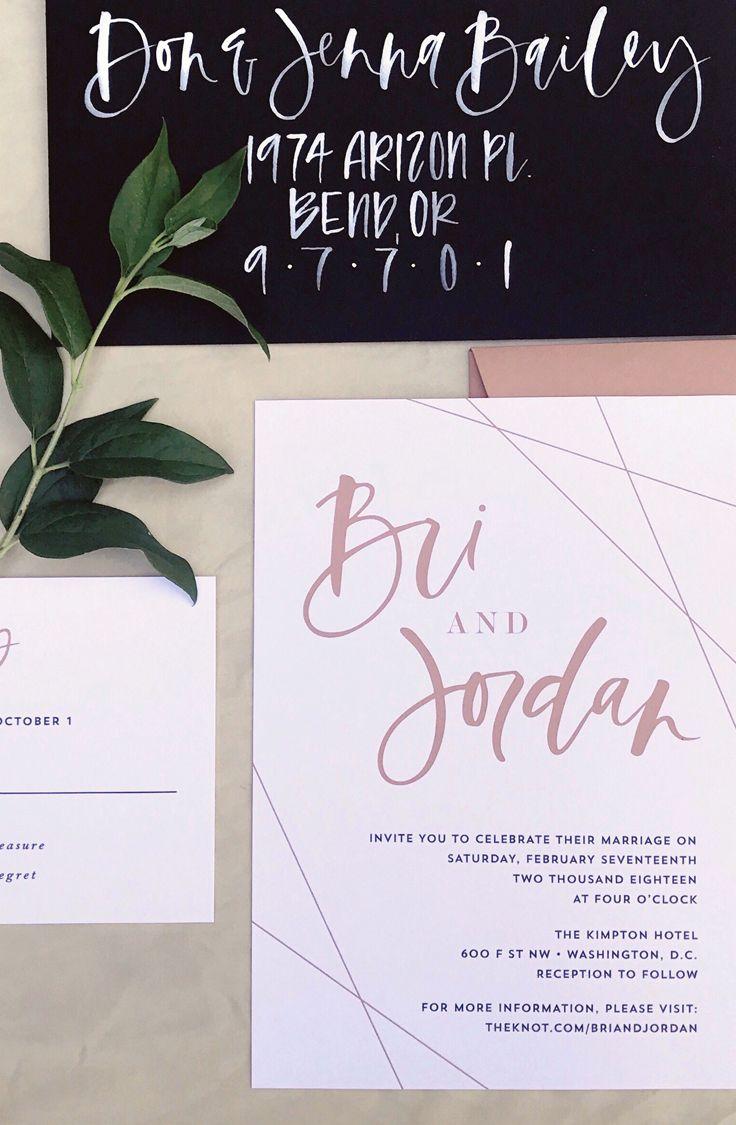 Modern geometric wedding invitation simple wedding invitation