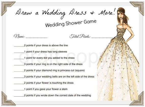 Nice Draw a wedding dress u more wedding shower game instant Download