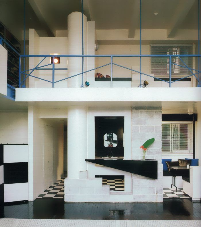 80s loft with a checkered floor