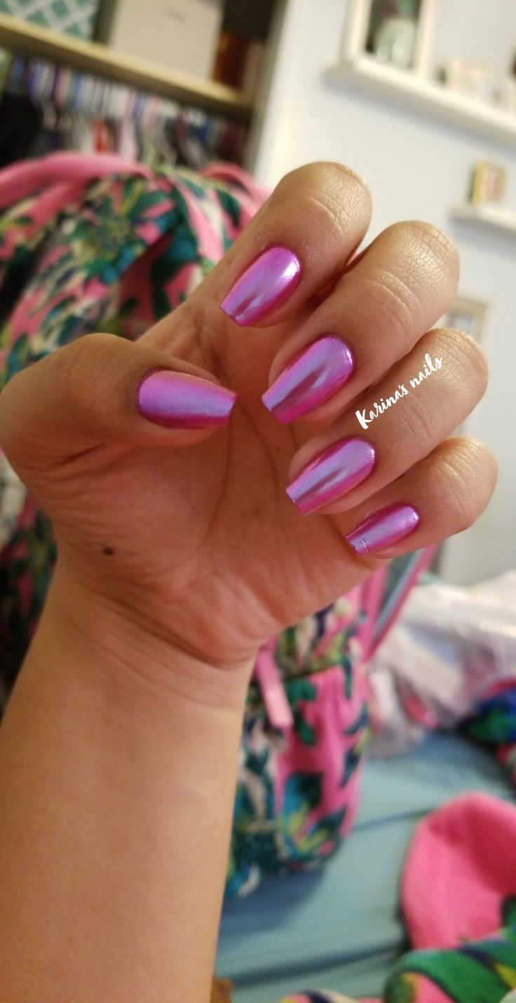 Hot pink chrome nails