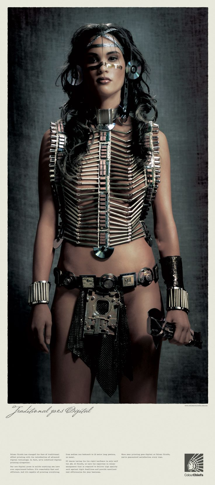"""""""Squaw."""" Steampunk Indian Princess. Ad campaign for Australian printing company ColorChiefs. 2006. Slogan was """"Traditional Goes Digital."""""""