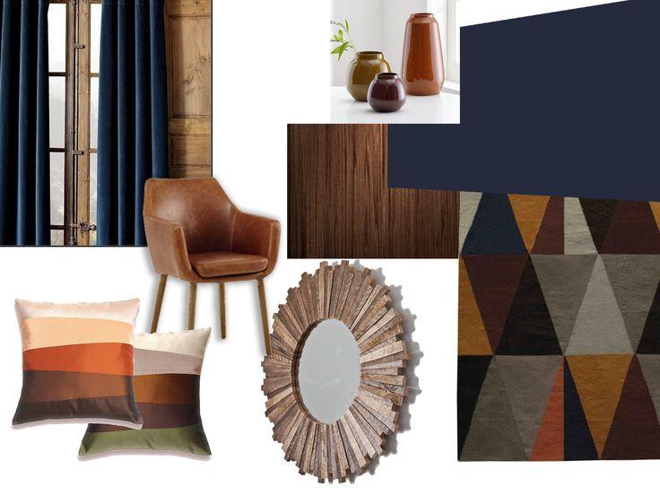 Painel de conceito (moodboard) para quarto de casal com madeira e azul royal.