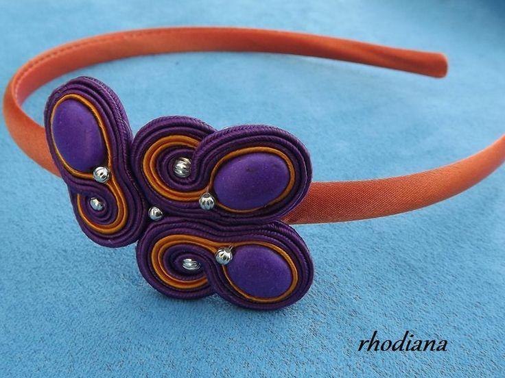 Fiolet z pomarańczą wiosenna opaska sutasz w rhodiana na DaWanda.com