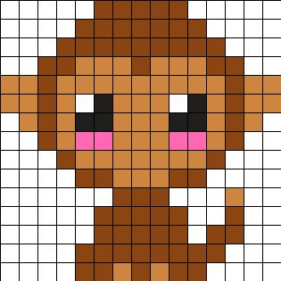 Baby Monkey Perler Bead Pattern
