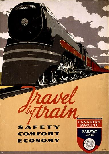 Great idea for boys room wall decor. Framed vintage train travel posters.