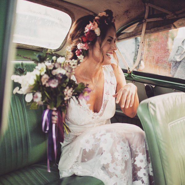 Happy just radiates   Peggy in GARDENIA wedding dress  #realbride #RomantiqueBride http://romantique.clairepettibone.com/search?type=product&q=gardenia