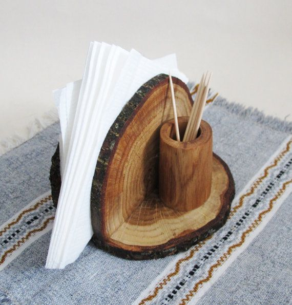 Rustic Oak Wood Napkin Holder Wooden Napkin Stand and by Vishemir