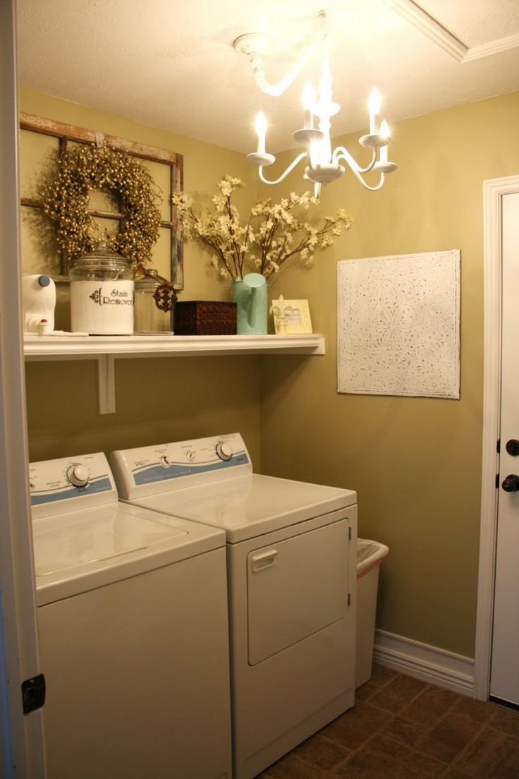 Contemporary Laundry Room Furniture Ideas features Brown Tiles Floor and Floating White Wooden Shelf