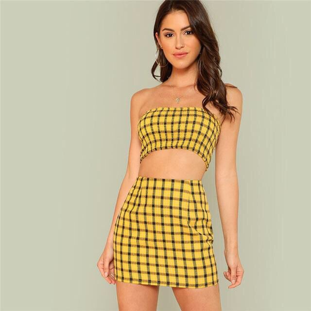 Amazing Yellow Plaid 2 Piece Set Featuring Strapless Crop Top And
