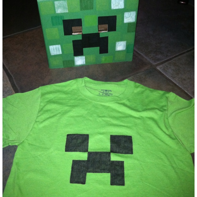 The MineCraft Creeper tshirt and box mask I made for my son's bday party.